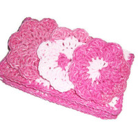Pink Cotton Beauty Spa Gift Set ... 2 Washcloths and 3 Flower Face Cloths