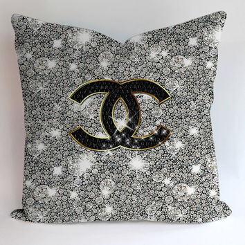 Chanel Glitter Design Pillowcases Pillow Cases Covers Square Design Home Decoration