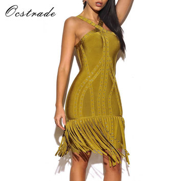 Ocstrade 2017 New Dress Bandage Rayon High Quality Women Olive green Halter Sleeveless Metals Fashion Tassel Bandage Dress