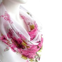 BUY ANY 3 GET 1 OF THEM FREE, large cotton scarf, large square scarf, pale pink scarf, light soft scarf, summer scarf, pattern scarf, pink flowers scarf, shawl blanket