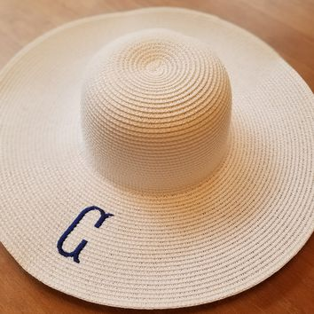 White Floppy Hats With Single Initial