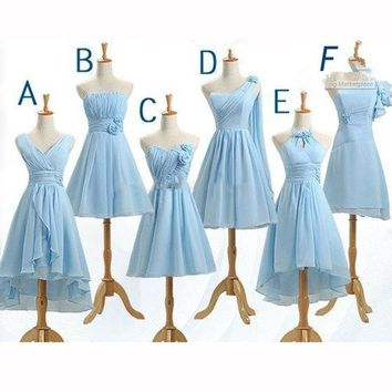 2016 Hot 6 Styles Short Prom Dresses Mix order Cheap Elegant Short A Line Wedding Party Dress Series Bridesmaid Dresses