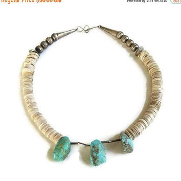 Turquoise Nugget & Heishi Bead Necklace Vintage with Sterling Silver