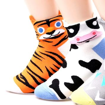 Tiger Shaped Cute Animal Short Cotton Socks for Women | DOTOLY