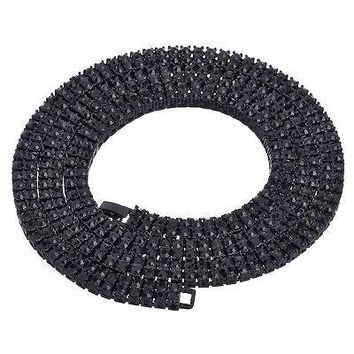 """Jewelry Kay style Men's Fully Iced Out 2 Layer 4 mm Round Stone Black Tennis Chain Necklace 30"""" BK"""