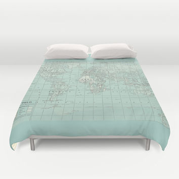 Vintage World Map in Soft Teal Duvet Cover by Catherine Holcombe