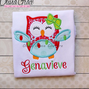 Girls Christmas Shirt, Owl Christmas Shirt, Winter Embroidered Applique Shirt or Bodysuit