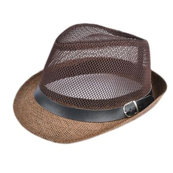 6 colors Summer Straw Bucket Hat For Male Jazz Visor Cap For Gentleman Dad Hat Plus Size Mesh Flat Homburg Beach Hat Gorras