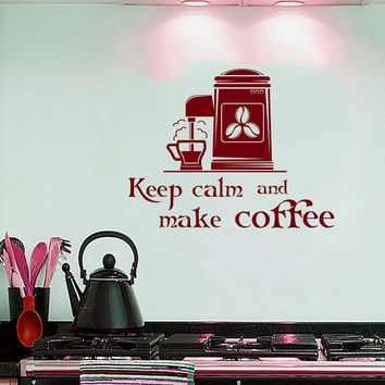 Wall Decals Quotes Keep Calm and Make Coffee Quote Decal Coffee Maker Kitchen Cafe Coffee House Shop Store Vinyl Sticker  Home Decor ML111