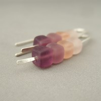Pink Purple Ombré Cube Czech Glass Sterling Silver Earrings. Sleek Contemporary Fresh Modern Dangle Earrings. | The Silver Forge Handcrafted Jewellery