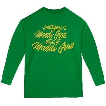 PEAPGQ9 What Happens at Mardi Gras Stays Youth Long Sleeve T Shirt