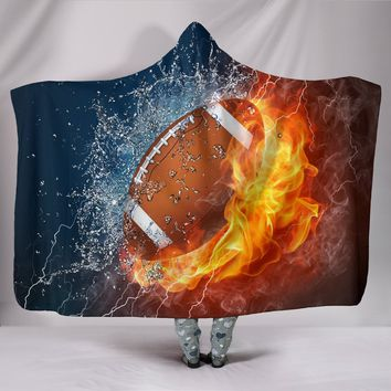 Football Fire And Water Hooded Blanket