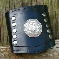 Prospect -- The Biker's Cuff with Secret Pocket  - -  Silver Morgan Dollar on Blue Black