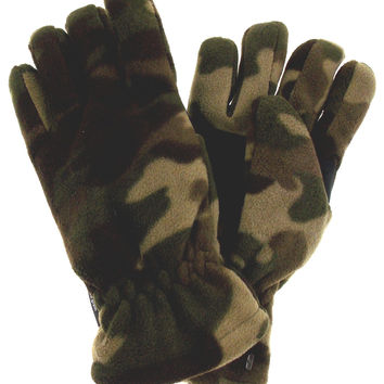 Green Camo Athletech Fleece Gloves 3M Thinsulate Lined Mens Winter Snow M L