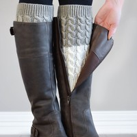 Light Grey and Ivory Reversible Knitted Boot Cuffs