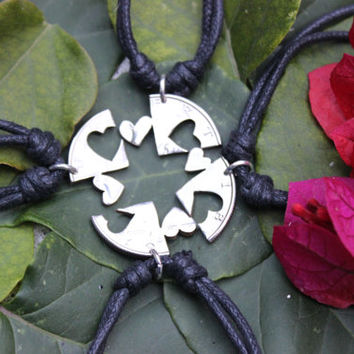 four piece necklaces, friendship hearts