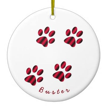 Red and Black Gradient Paw Prints Ceramic Ornament