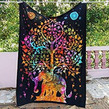 Future Handmade Elephant tree multi color twin tapestry wall tapestry hippie tapestry wall hanging Indian psychedelic tapestry mandala beach throw boho tapestries bohemian bedspread Size 81x55 Inches