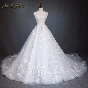 Marfoli Luxury Wedding Dresses 2017 With Lace and Flower A-Line 2 Meters Train Off the Shoulder White/Ivory Bridal Gown WD226