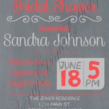 Wedding or Bridal Shower Custom Printable Invitation.  Coral & Gray Bridal Shower Invitation. Custom Wedding shower invite printable