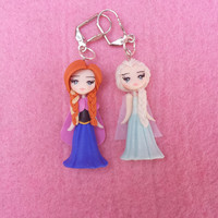 Anna, elsa earrings and frozen fimo, polymer clay