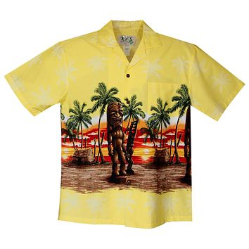 Tiki Yellow Border Hawaiian Shirt