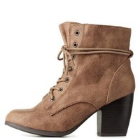 Taupe Chunky Heel Lace-Up Booties by Charlotte Russe