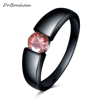 Charming Stone Ring pink blue yellow Zircon  Women men Wedding  Jewelry Black Gold Filled Engagement Rings Bague Femme DR1730