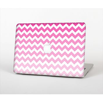 The Pink & White Ombre Chevron Pattern Skin Set for the Apple MacBook Air 13""