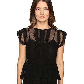 RED VALENTINO Point D'Esprit and Tulle Top