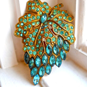 Grape Rhinestone Dress Clip, Teal Paste Stones, Art Nouveau Fruit Floral, Vintage-Antique