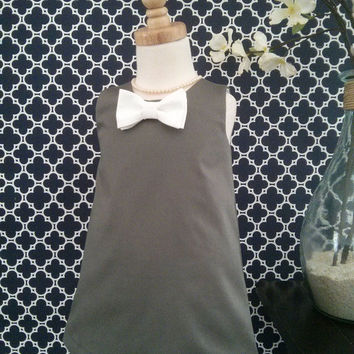 Girls Christmas Dress - Retro Girls Dress - Gray and White Bow Tie - A-line Dress - Tunic dress -  Boutique Style - Custom sizes 12M-7