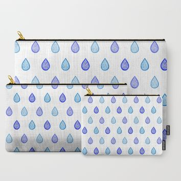 Blue raindrops Carry-All Pouch by Savousepate