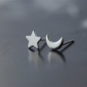 925 Sterling Silver Star and Moon Sterling Silver Stud Earrings