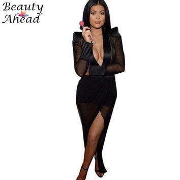 Kylie Jenner dress New Fashion Deep v-neck long sleeve perspective elegant maxi dresses plus size irregular hem woman club dress
