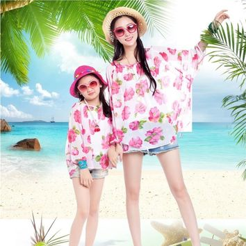 mother and daughter matching sunproof full sleeve floral chiffon shirt