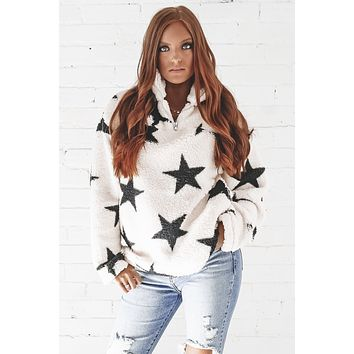 Say Less Cream Sherpa Star Pullover