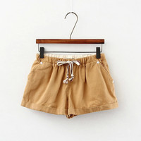 Drawstring Waist Pockets Shorts
