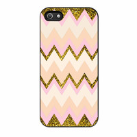 Gold Pink Chevron iPhone 5 Case