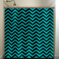 turquoise aqua chevron shower curtain bathroom decor fabric kids bath white black custom duvet cover rug mat window