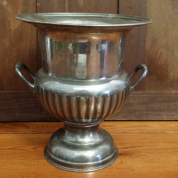 Vintage Silver Plated Lightweight Trophy Style Champagne Bucket Urn Planter International Silver Co India