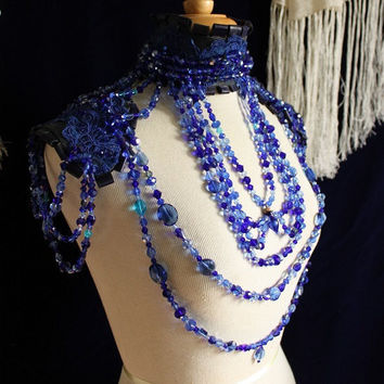 Sapphires and Perfumed Gin -  Sapphire Blue Crystal Statement Collar with Leather Lace Shoulder Harness and secret glass phial. -To order