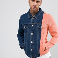 boohooMAN colourblock denim jacket in blue wash at asos.com