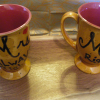 Coffee/Tea/Cup/Mug/Gift/Personalized/Custom/Upcycled/repurposed/Wedding/ Anniversary/Mr. Right and Mrs. Always right.