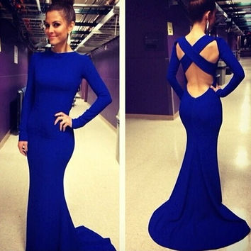Fashion Women Long Sleeve Prom Ball Cocktail Party Dress Formal Evening Gown [7861328519]
