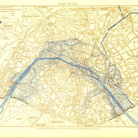 1910s Vintage Map of Paris, Flooded Areas,  Floods of the River Seine, City Map