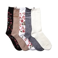 Tween Floral Crew Socks 5 Pack