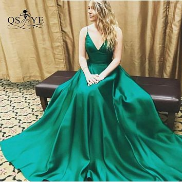 Sexy Deep V Neck Green Prom Dresses Long Party Dress 2017 Spaghetti Straps Floor Length Satin Formal Evening Gowns
