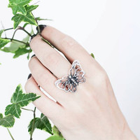 Silver butterfly ring - sterling silver ring - nature jewelry - butterfly jewelry, statement ring, summer jewelry, gift for her, boho ring