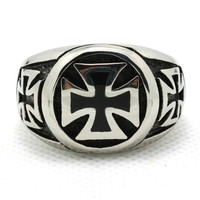 1pc Hot Design US Style Mens Boy Biker Ring 316L Stainless Steel Unique Cool Ring